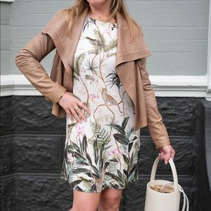 H&M tropical leopard print shift dress sz 6